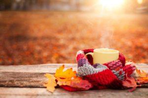 Tea mug and warm scarf