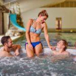 family in hot tub