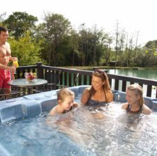 family hot tub, waterside cabins