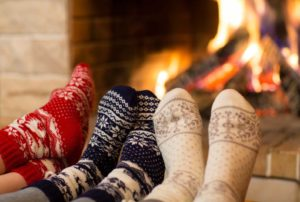 feet in front of fire
